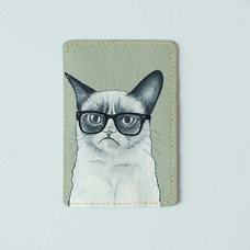 "Обложка на пластиковый ID-паспорт ""Grumpy Cat"""