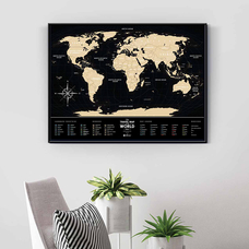 Скретч-карта мира Travel Map, Black