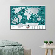 Пластиковая скретч-карта мира Travel Map, Marine