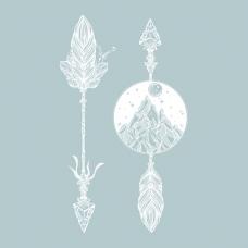 """Временная тату """"Стрелы, горы и луна"""", 15 см"""