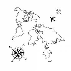 """Временная тату """"Карта мира"""", 8 см"""