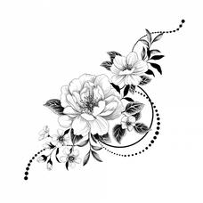 """Временная тату """"Графические цветы"""", 16 см"""