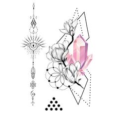 """Сет временных тату """"Розовый алмаз"""""""