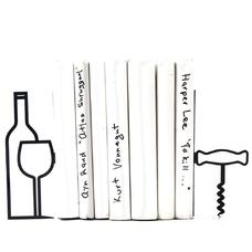 "Упоры/держатели для книг ""More wine, less whine"""