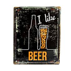 "Металлическая табличка ""I like beer"""