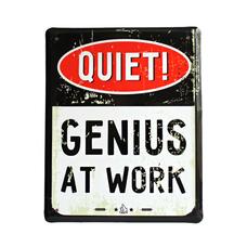 """Металлическая табличка """"Genius at work"""" (eng.)"""