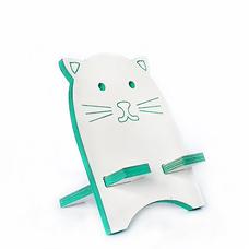 """Подставка для смартфона """"Белый котик"""", бирюзовый"""