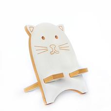 """Подставка для смартфона """"Белый котик"""", жёлтый"""