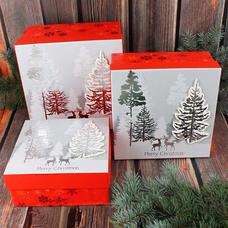 "Подарочная коробка ""Christmas wood"", 19х19 см - уценка"