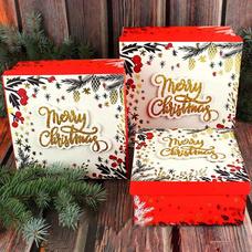"""Подарочная коробка """"Merry Christmas"""" (от 16 см)"""