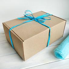 """Подарочная коробка """"Крафтовая"""", с голубой тишью"""