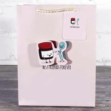 """Подарочный пакет 3D """"Best friends"""" (розовый) — уценка"""