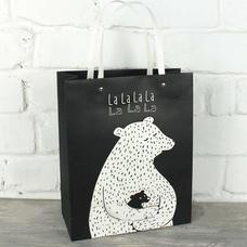 """Подарочный пакет """"La-la-la"""" (с мини мишкой) 32x26x12 см"""