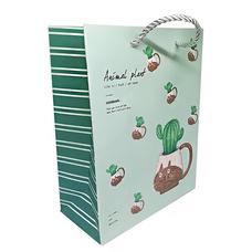 Подарочный пакет Animal plant (green) 24.5*19.5*9.5 см