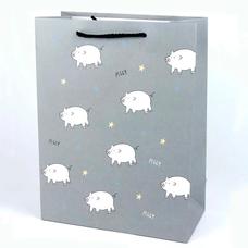 """Подарочный пакет """"Свинюхи"""" (gray) 33x25x12 см"""