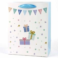 """Подарочный пакет """"Happy Birthday"""" (white) 32x26x12 см"""