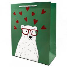 """Подарочный пакет """"Teddy-Bear"""" (green) 32x26x12 см"""