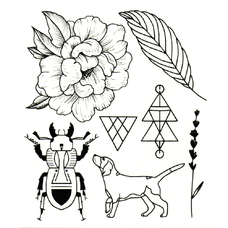"""Сет временных татуировок """"Пион"""""""
