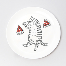 """Тарелочка """"Кот и пицца"""""""