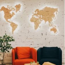 "Карта мира из дерева ""Wood World"" (размер S)"