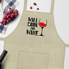 "Фартук ""Will cook for wine"""