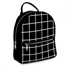 """Городской рюкзак """"В клетку"""", черный"""