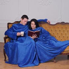 Плед с рукавами для двоих, синий
