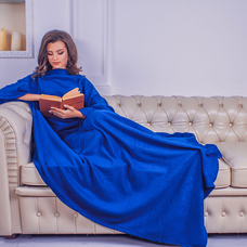 Плед с рукавами из флиса, синий