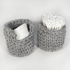 Набор вязаных корзинок, серый