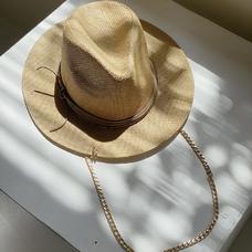 Соломенная шляпа-федора, бежевая