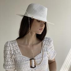 Соломенная шляпа-федора, белая