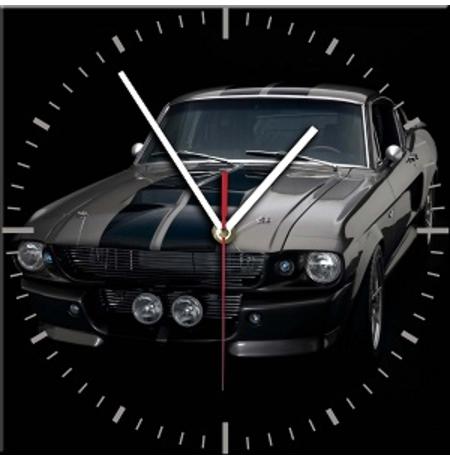 """Настенные часы из стекла """" ford mustang 01"""""""