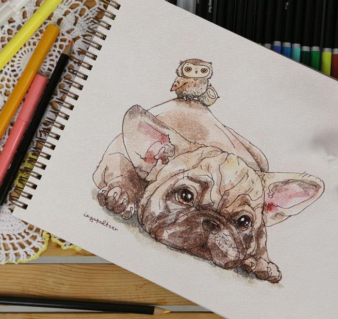 Скетчбук для акварели, альбом для рисования с собакой