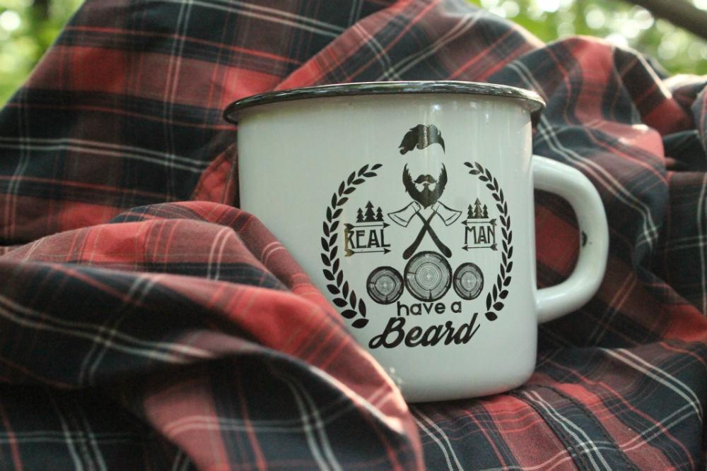 "Эмалированная кружка ""Real man have a beard"""