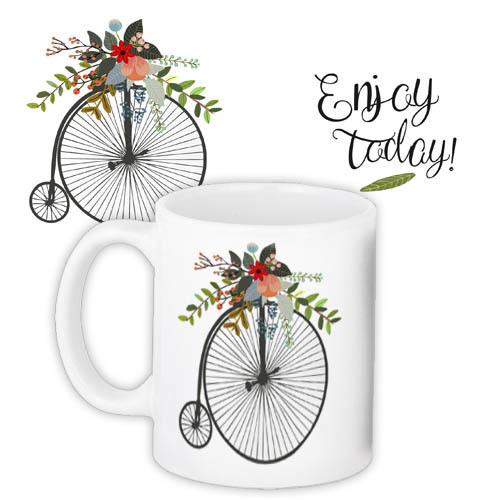 Чашка с цветами и велосипедом, подарок на 8 марта подруге