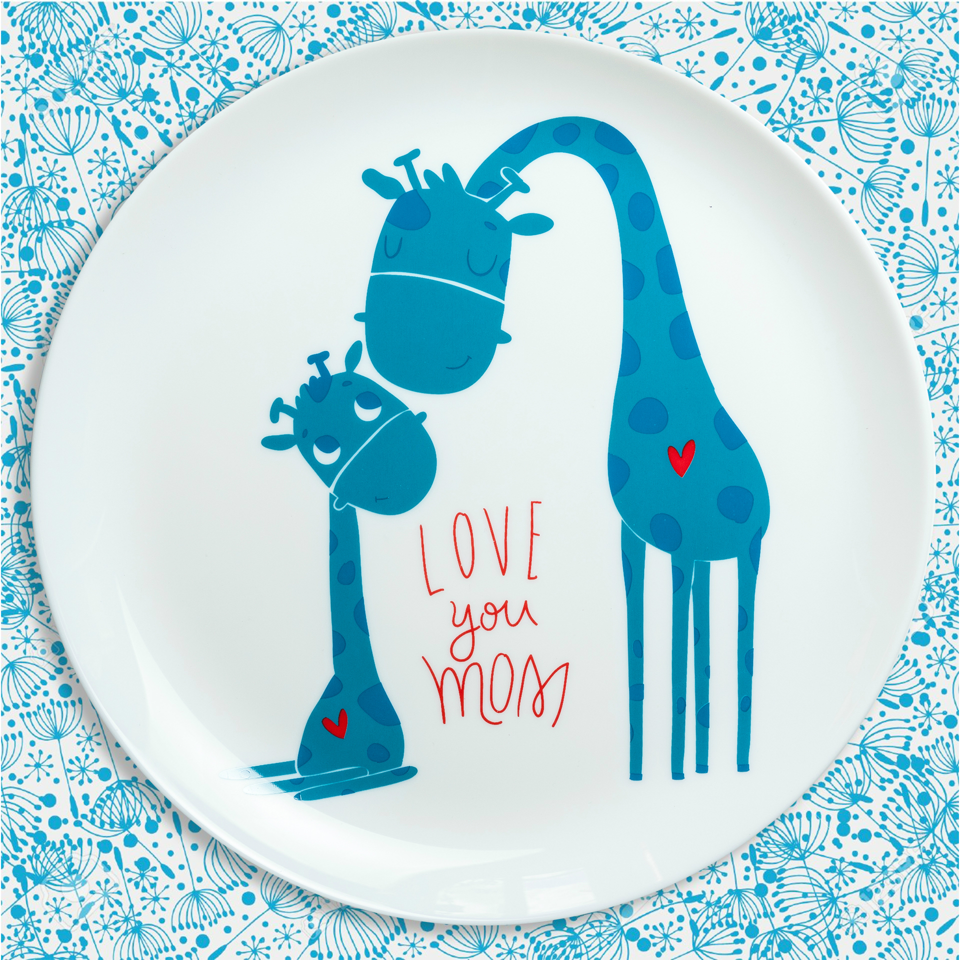 Тарелочка для мамы, тарелочка с животными, тарелка с жирафами